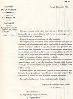 GUERRE De 1870 Decret N°26 Du 10 Novembre 1870 Renseignements Sur Les Militaires Tués, Blessés Ou Disparus - Decrees & Laws