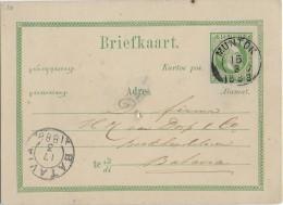 INDES NEERLANDAISES - 1888 - CARTE ENTIER POSTAL De MUNTOK => BATAVIA - Indes Néerlandaises
