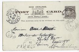 NEW ZEALAND - 1904 - CARTE ENTIER POSTAL Avec REPONSE PAYEE (PARTIE N°1) De WELLINGTON => PARIS => CANNES - 1855-1907 Colonie Britannique