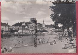 41 - MONTRICHARD--La Plage Sur Le Cher Au Fond Le Donjon Et L ' Eglise Sainte Croix--animé---cpsm  GF - Montrichard