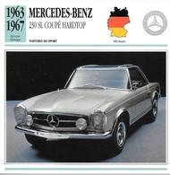 Fiche Editions Atlas Automobile Voitures De Sport Mercedes Benz 230 SL Coupé Hardtop - Voitures