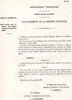 GUERRE De 1870 Decret N°31 Du 6 Novembre 1870 Délai Accordé Pour Rejoindre, Aux Officiers... - Decrees & Laws