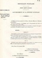 GUERRE De 1870 Decret N°32 Du 8 Novembre 1870 Service Spécial D'inspection Des Transports ... - Decreti & Leggi
