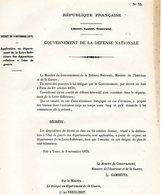 GUERRE De 1870 Decret N°33 Du 9 Novembre 1870 Application Au Département De La Loire-Inférieure Des Dispositions ... - Decrees & Laws