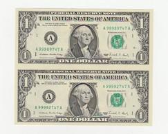 USA   Zwei Zusammenhängende  1 Dollar Noten Aus Grossbogen UNZ - United States Of America