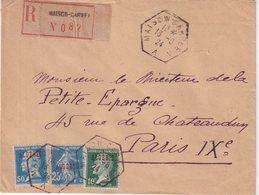 """ALGERIE : REC . """" MAISON CARREE A """" . AFFRT A 85 Cts . TYPE PASTEUR ET SEMEUSE . POUR PARIS . 1924 . - Algérie (1924-1962)"""
