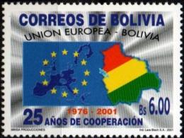 Bolivia 2001, Bolivian-European Cooperation Treaty 1 Value MNH Flag European Union - Bolivië