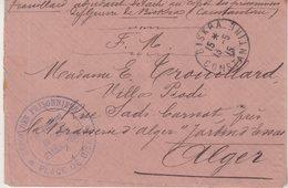 """ALGERIE : EN FM . DU DEPOT DE PRISONNIERS DE """" BISKRA """" . 1915 . - Postmark Collection (Covers)"""