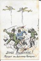 """MILITARIA (14/18) CPA ANTI-KAISER """"DANSE PRUSSIENNE SUR UNE MUSIQUE DES AVIATEURS FRANCAIS"""" - Guerre 1914-18"""