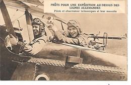 """MILITARIA (14/18) CPA """"PILOTE ET OBSERVATEUR ANGLAIS ET LEUR MASCOTTE"""" SUPERBE (A LIRE) - Guerra 1914-18"""