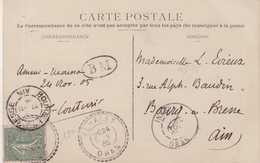 "ALGERIE : 15 Cts . TYPE SEMEUSE LIGNEE . OBL . "" ELALEF ORAN "" . ET BM .  1905 . - Marcophilie (Lettres)"