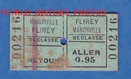 Ticket De Train D'un Poilu - Trajet FLIREY / MANONVILLE , Aller Retour - Chemin De Fer De L' Est - Bahn Gare Seicheprey - Spoorwegen