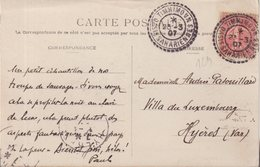 "ALGERIE :  TYPE SEMEUSE LIGNEE . OBL . "" TIMMIMOUN OASIS SAHARIENNNES "" . 1907 . - Marcophilie (Lettres)"