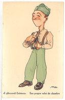Cpa Signée Alfredo - Son Propre Valet De Chambre  ( Soldat )   ...   ( S. 2573 ) - Illustratori & Fotografie