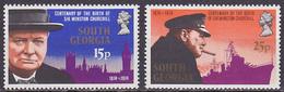 Série De 2 TP Neufs ** N° 47/48(Yvert) Géorgie Du Sud 1974 - Sir Winston Churchill - Géorgie Du Sud