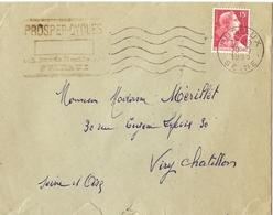France 1955 - Lettre De Puteaux/Seine à Viry Chatillon/Seine Et Oise - Flamme Publicitaire Prosper-cycles -  TP1011 - France