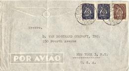 Portugal - 1948 - Lettre Poste Aérienne De Lisbonne à New-York - TP 632 Et 636 X 2 - Poste Aérienne