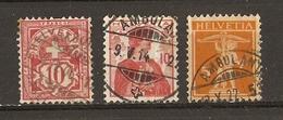 Suisse 1906/22 - Petit Lot De 3° Cachets Ambulants - Armoiries - Helvetia - Walter Tell - Marcophilie
