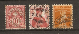 Suisse 1906/22 - Petit Lot De 3° Cachets Ambulants - Armoiries - Helvetia - Walter Tell - Postmark Collection