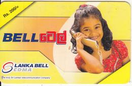 SRI LANKA - Little Girl On Phone, Lanka Bell Prepaid Card Rs.200, Used - Sri Lanka (Ceylon)
