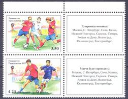 2017. Tajikistan, World Football Cup 2018, TYPE II, 2v With Labels Se-tenant Perforated, Mint/** - Tadschikistan