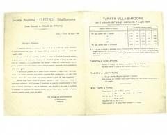 Tariffa Villa-Bianzone Per Il Consumo Energia Elettrica Dal 1 Luglio 1924 - Historical Documents