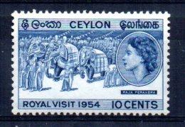 Ceylon - 1954 - Royal Visit - MNH - Sri Lanka (Ceylan) (1948-...)