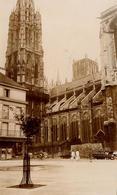 Photo Originale Normandie - Rouen 76000 - La Tour De Beurre & La Cathédrale En 1955 - 4 CV & Simca Ariane - Lieux