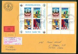 Yugoslavia 1990 FDC Chess 29 Th Olympiad Miniature Sheet Mailed Express Worth Letter Novi Sad Cancel Horse King Quine - 1945-1992 Socialist Federal Republic Of Yugoslavia