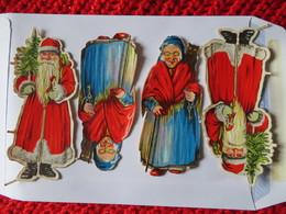 HELLER EMANUEL Scraps 2 Small Sheets Santas AUSTRIA Die-Cuts Glanzbilder Decoupage 1940's RARE - Scrapbooking