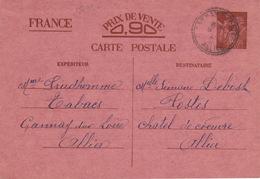 18699# IRIS CARTE POSTALE Obl GANNAY SUR LOIRE ALLIER 1941 FACTEUR BOITIER Pour CHATEL DE NEUVRE - Enteros Postales