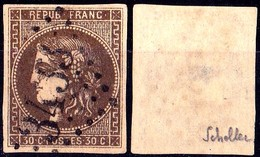 FRANCE N°47e EMISSION DE BORDEAUX 30c BRUN FONCE R RELIE AU CADRE SIGNE SCHELLER LUXE - 1870 Emission De Bordeaux