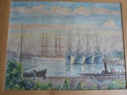 AQUARELLE Ca 1900 ARSENAL MILITAIRE TRANSPORTS DE GUERRE TOULON à Identifier - Watercolours