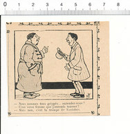 2 Scans De 1905 Humour Maladie Grippe Toux Trompe D'autobus Klaxon / Chien De Garde Et Puces 51C14 - Vieux Papiers
