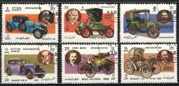 AFGHANISTAN - 1984 - COSTRUTTORI DI AUTOMOBILI: BUGATTI, FORD, PANHARD, DAIMLER, BENZ, PEUGEOT - USATI - Afghanistan