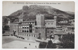 (RECTO / VERSO) MONACO - N° 127 - LE PALAIS DU PRINCE ET LA TETE DE CHIEN - CPA  VOYAGEE - Prince's Palace