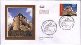 FRANCE 3923 à 3924 FDC X 2 Premier Jour émission Commune Conjointe Nations Unies Genève Provins Mont St Michel - 2000-2009