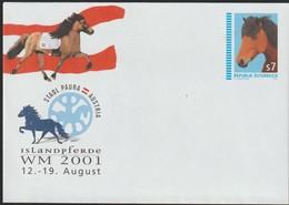 M 999) Österreich Ganzsache Mi# U 101 *: WM 2001 Stadl Paura, Islandpferde Pferd - Horses