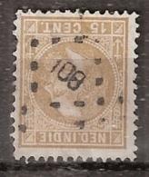 Ned Indie 1870 Koning Willem III. 15 Cent. NVPH 11F. 12,5x12 Puntstempel 108 (Medan) - Nederlands-Indië