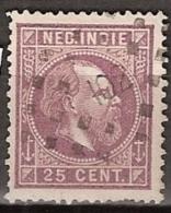 Ned Indie 1870 Koning Willem III. 25 Cent. NVPH 13D 13,5x14 Puntstempel 102 (GAROET) - Indes Néerlandaises