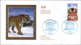 FRANCE Service 134 FDC Premier Jour UNESCO Tigre De Sibérie Tiger - FDC
