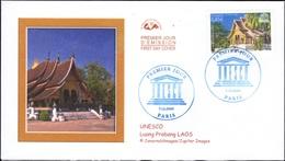 FRANCE Service 135 FDC Premier Jour UNESCO Vat Xieng Tong Temple Cité D'Or à Luang Prabang Laos - FDC