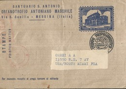M) 1957 ITALY, POSTAL STATIONARY, ORPHANATORYANTONIANO MASCHILE, CIRCULATED COVER FROM ITALY TO USA. - Italy