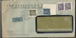 M) 1949, ČESKOSLOVENSKO, TELEGRAM, COAT OF ARMS 6K, 2K, 50H, AIR MAIL, CIRCULATED COVER FROM ČESKOSLOVENSKO TO SWEDEN - Czechoslovakia
