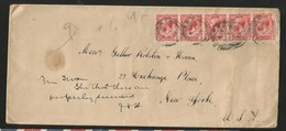M) 1915 GREAT BRITAIN, STRIP OF FIVE STAMPS OF THA KING GEORGE V, CIRCULATED COVER FROM GREAT BRITAIN TO USA. - Great Britain (former Colonies & Protectorates)