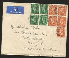 M) 1956 GREAT BRITAIN,BLOCK OF FOUR STAMPS OF KING GEORGE VI,  OF 1/2 D AND BLOCK OF FOUR OF 2D, AND ANOTHER ALONE, AIR - Great Britain (former Colonies & Protectorates)