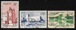 French Morocco, Scott # 322-4 Used Casablanca,Safi,Marrakesh, 1955 - Morocco (1891-1956)