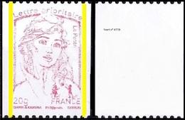 France Marianne De La Jeunesse Par Ciappa Et Kawena N° 4779_aa ** Gommé, Sans Numéro Noir Impression Dépouillée Du Rouge - 2013-... Marianne De Ciappa-Kawena