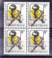 BELGIQUE BUZIN, COB PO 831 FLUO  ** MNH, BLOC DE 4.  (3PO38) - 1985-.. Oiseaux (Buzin)