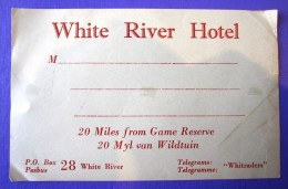 HOTEL MOTEL PENSION WHITE RIVER MPUMALANGA SOUTH AFRICA STICKER DECAL LUGGAGE LABEL ETIQUETTE AUFKLEBER - Hotel Labels